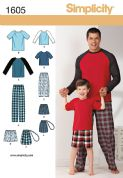 1605 Simplicity Pattern: Boys' and Men's Loungewear